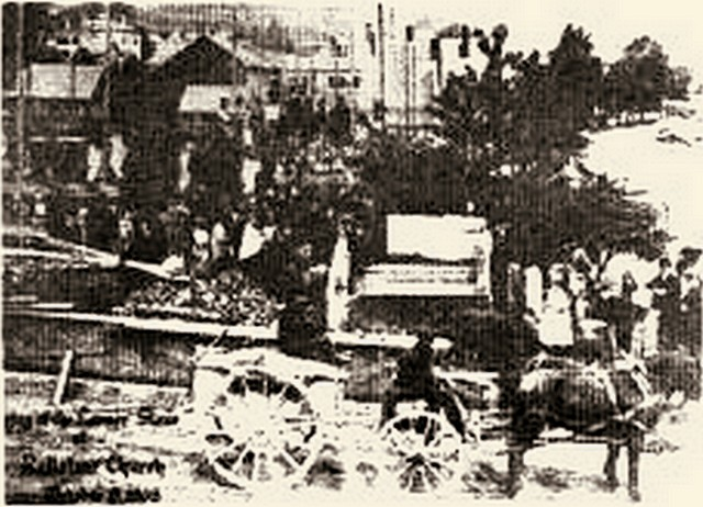 Laying the cornerstone in 1868