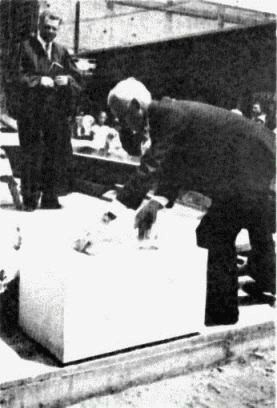 Laying the cornerstone on the Boutelle Parish House in 1937
